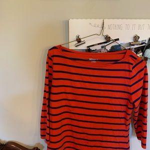 Morona Size Large orange and navy stripes